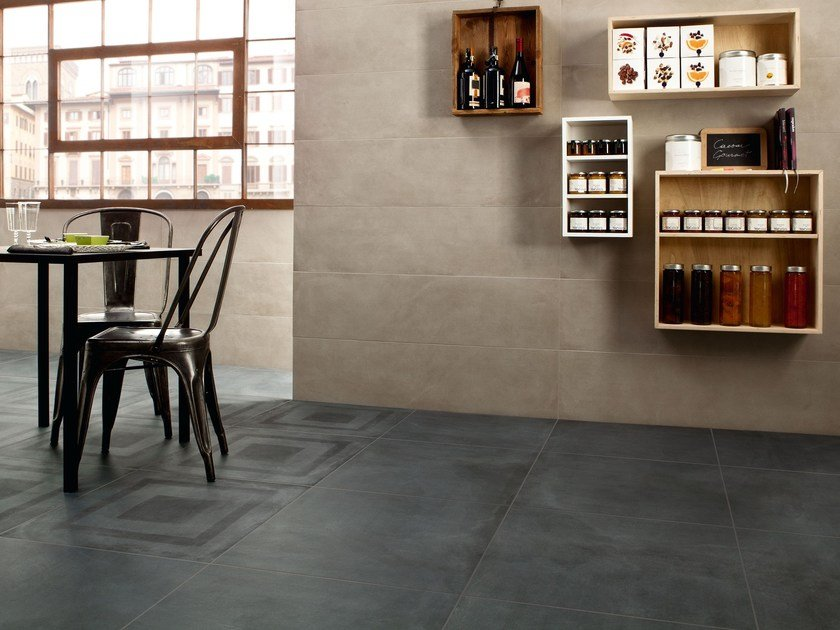 Porcelain stoneware wall/floor tiles with concrete effect ONE INDIGO by Ceramiche Caesar