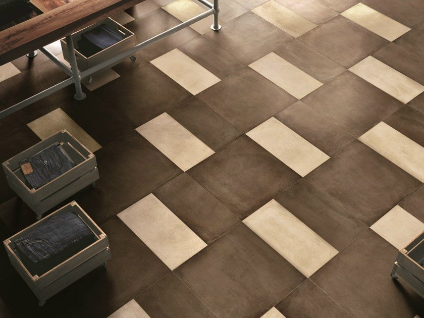 Porcelain stoneware wall/floor tiles with concrete effect ONE MUD by Ceramiche Caesar