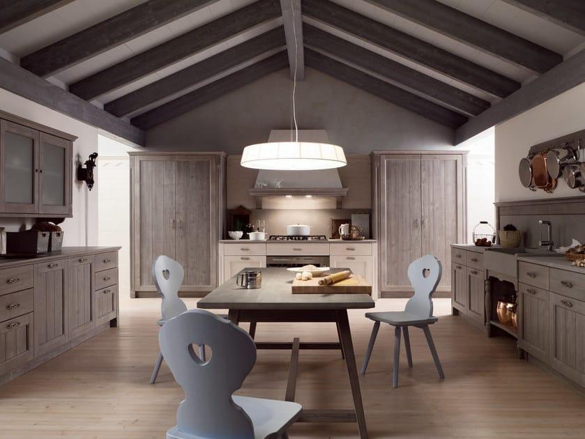 Cucina lineare in stile rustico TABIÀ T03 By Scandola Mobili
