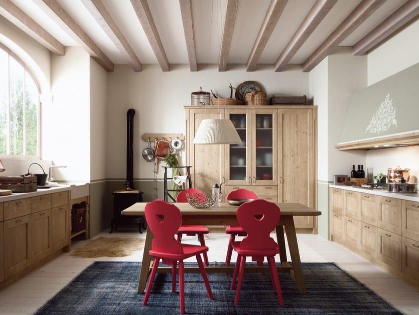 Cucina lineare in stile rustico TABIÀ T02 By Scandola Mobili