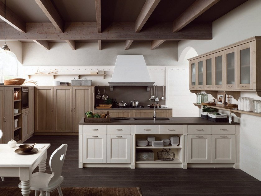 Rustic style kitchen with peninsula TABIÀ T01 by Scandola Mobili