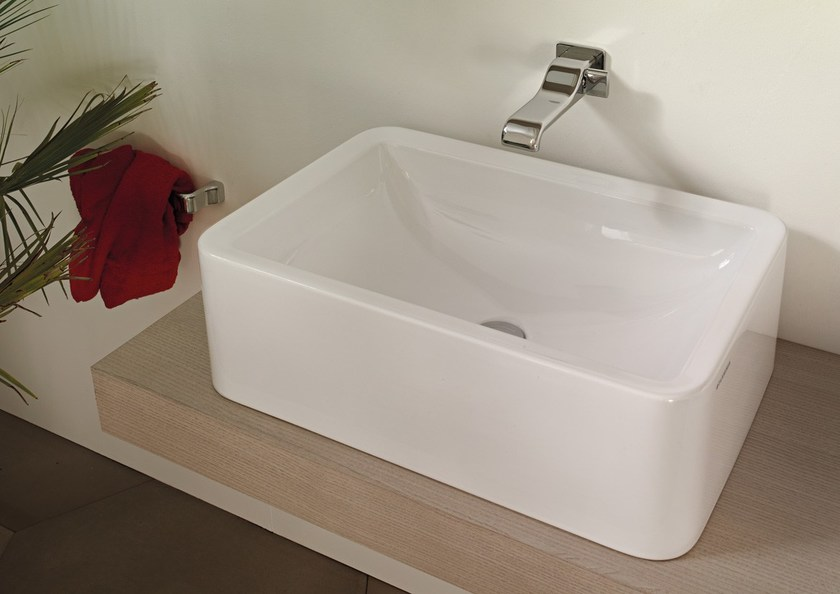 Contemporary style countertop rectangular ceramic washbasin with overflow NILE 62 H20 | Countertop washbasin by CERAMICA FLAMINIA
