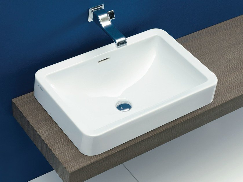 Contemporary style inset ceramic washbasin with overflow NILE 62 | Inset washbasin by CERAMICA FLAMINIA