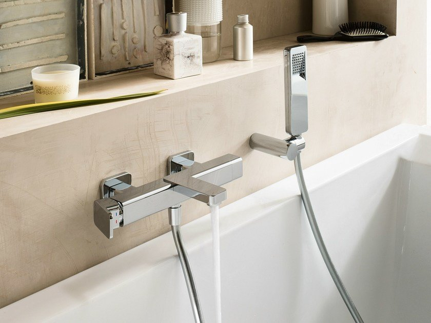 Wall-mounted chrome-plated bathtub mixer with hand shower LOOP | Bathtub mixer by Nobili Rubinetterie