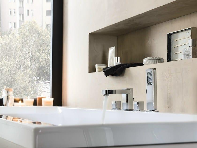 4 hole chrome-plated bathtub set with hand shower LOOP | 4 hole bathtub set by Nobili Rubinetterie