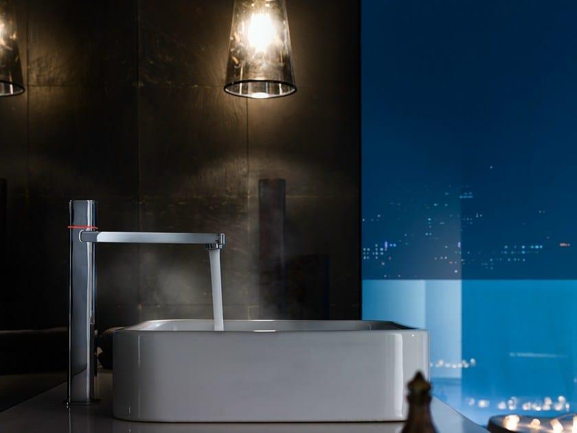 Chrome-plated countertop electronic washbasin mixer LOOP E | Electronic washbasin mixer by Nobili Rubinetterie