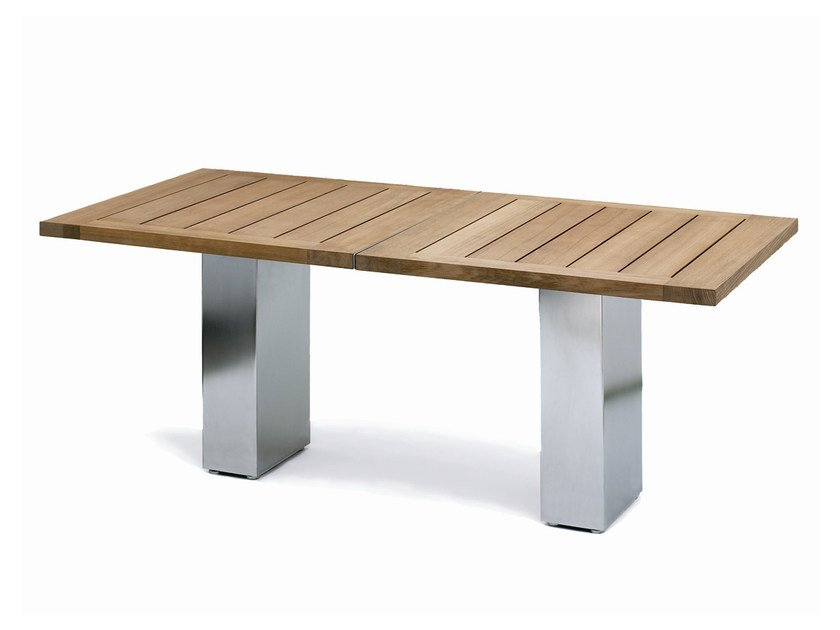 Classic style lacquered stainless steel garden table DOBLE | Teak table by  FueraDentro - DOBLE Teak Table By FueraDentro