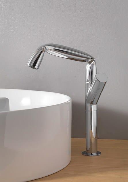 Chrome-plated countertop single handle metal washbasin tap FOLD | Countertop washbasin tap by CERAMICA FLAMINIA
