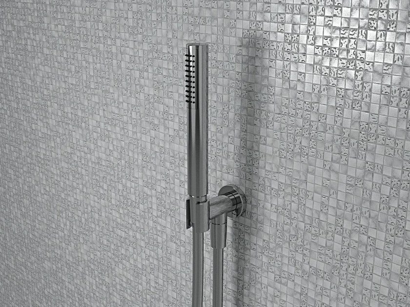 Wall-mounted metal handshower with anti-lime system with bracket FOLD | Handshower with bracket by CERAMICA FLAMINIA