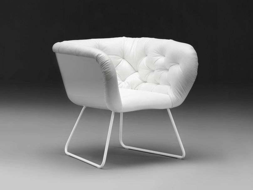 Sled base upholstered easy chair NO.3 | Armchair by mminterier