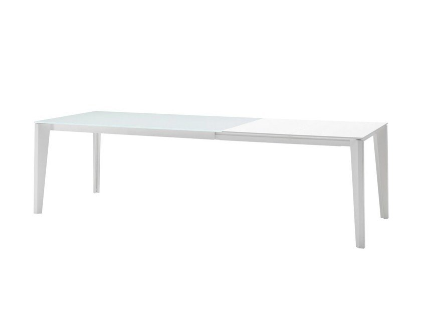 Extending rectangular glass and steel table DIAMANTE | Extending table by Midj