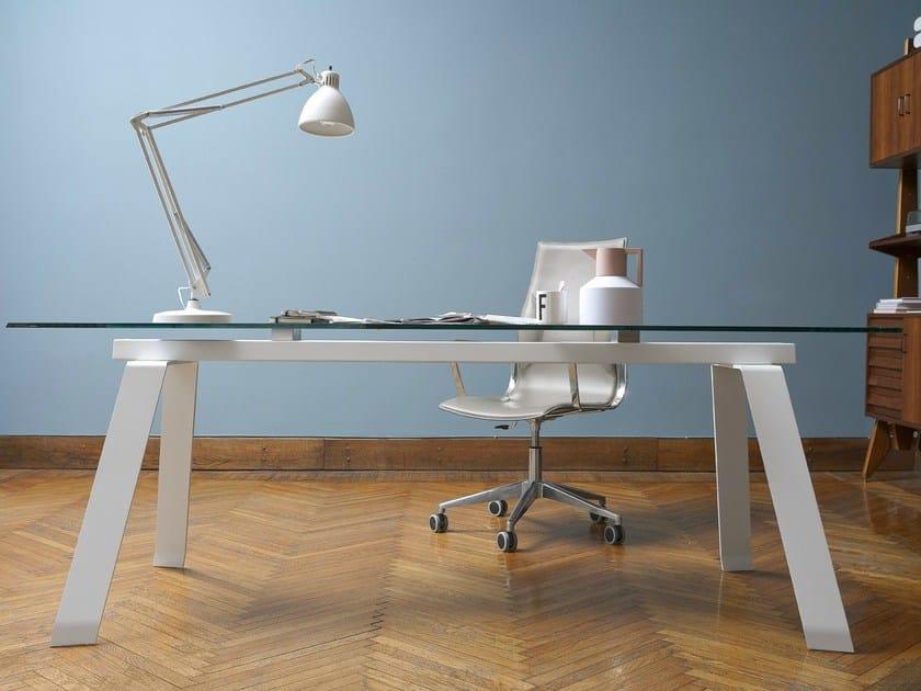 Rectangular table TORONTO | Glass and steel table by Midj