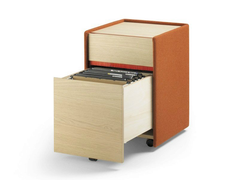 Solid Wood Filing Cabinet With Casters LANDA | Office Drawer Unit By ALKI