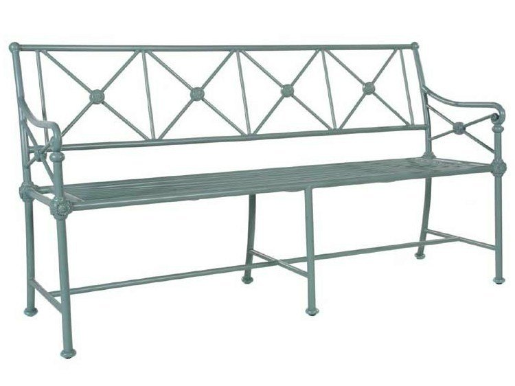 Aluminium garden bench with armrests MADELEINE CASTAING by Tectona