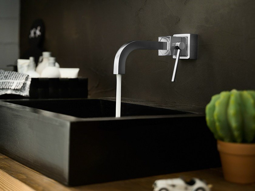 Wall-mounted chrome-plated washbasin mixer CUBE | Wall-mounted washbasin mixer by Nobili Rubinetterie
