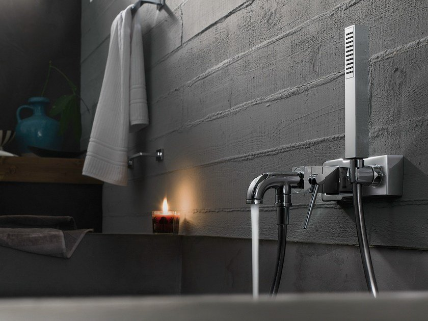 Wall-mounted chrome-plated bathtub mixer with hand shower CUBE | Bathtub mixer by Nobili Rubinetterie