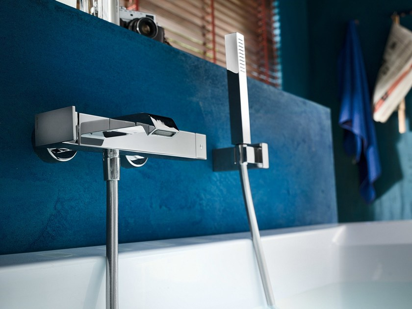 Wall-mounted bathtub mixer with hand shower SOLIDO F | Wall-mounted bathtub mixer by Nobili Rubinetterie