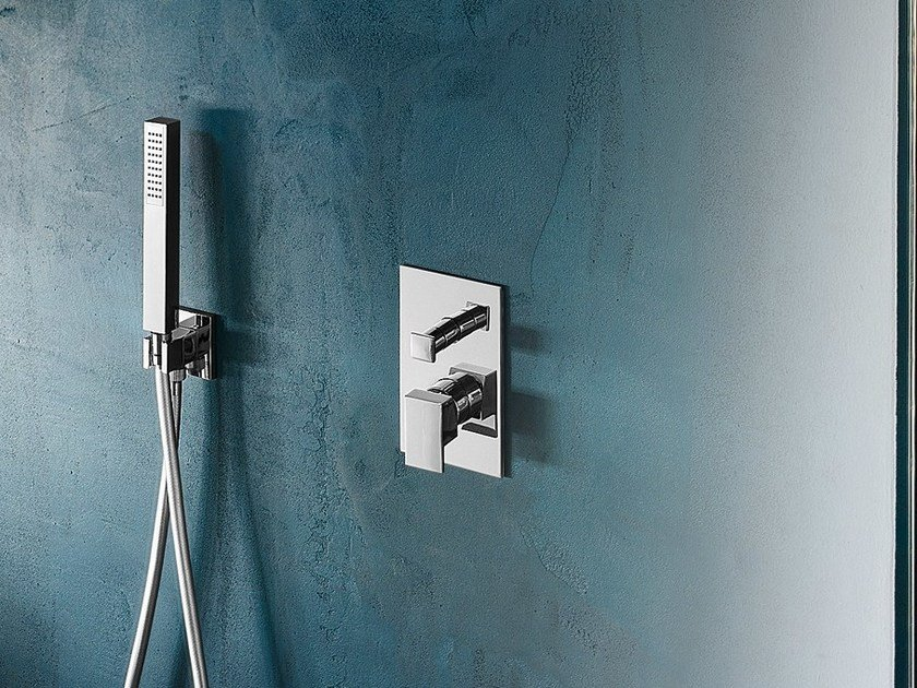 Chrome-plated shower mixer with diverter with plate SOLIDO F | Shower mixer with diverter by Nobili Rubinetterie
