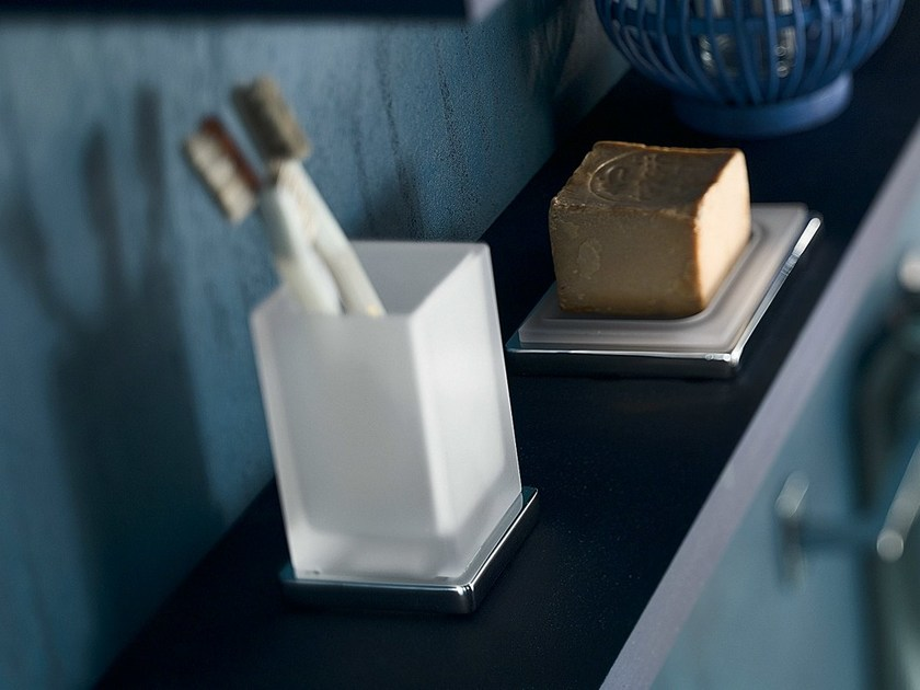 Etched glass toothbrush holder CUBE | Toothbrush holder by Nobili Rubinetterie