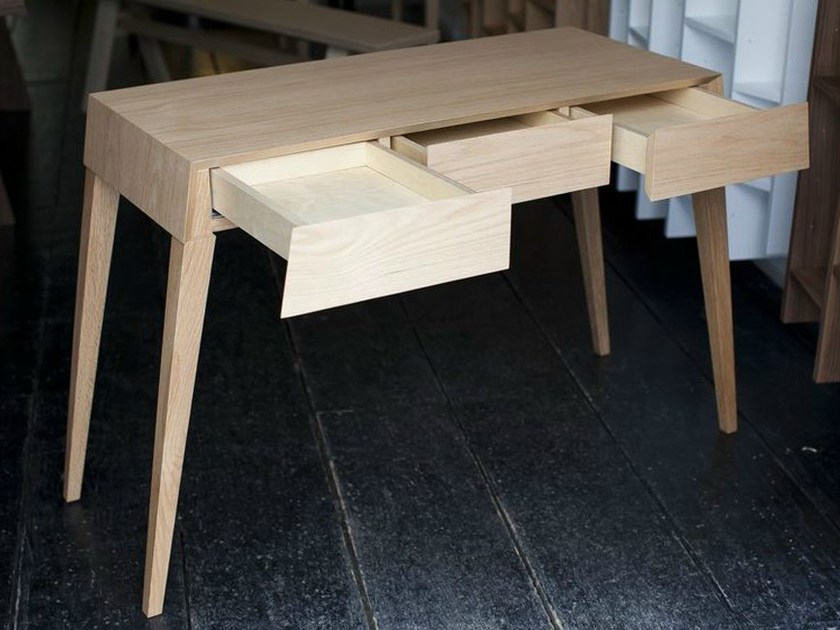 Wooden console table with drawers 3T   Console table by MALHERBE EDITION