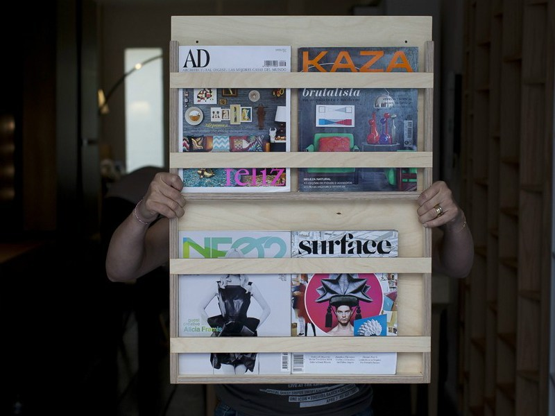 Wooden magazine rack LE DOUBLE by MALHERBE EDITION