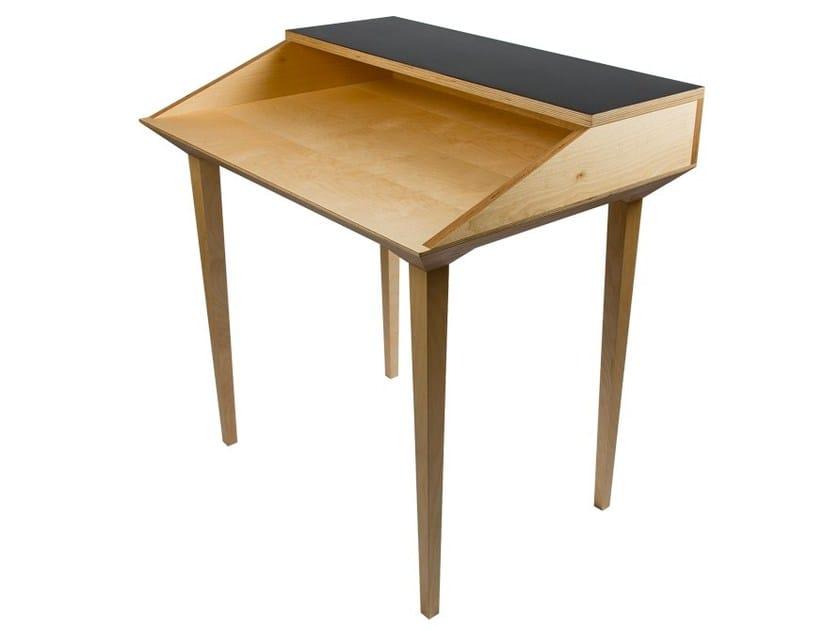 Wooden secretary desk PUPITRE P2 by MALHERBE EDITION