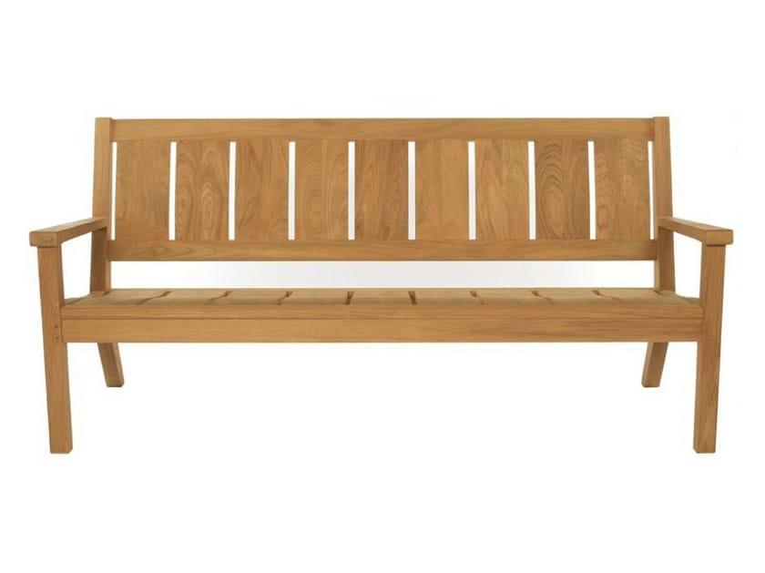 Teak garden bench with armrests SOMERSET | Garden bench by Tectona