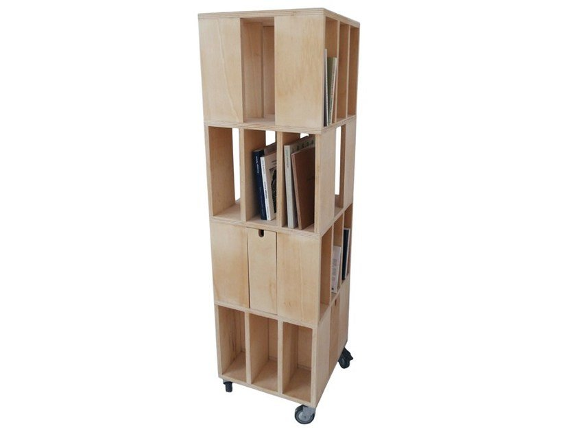 Bookcase with drawers with casters BUILDING 4M by MALHERBE EDITION