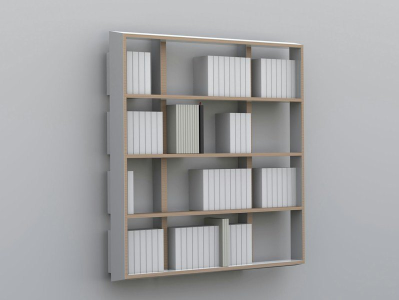 Floating custom multi-layer wood bookcase WALL BOOK   Floating bookcase by MALHERBE EDITION