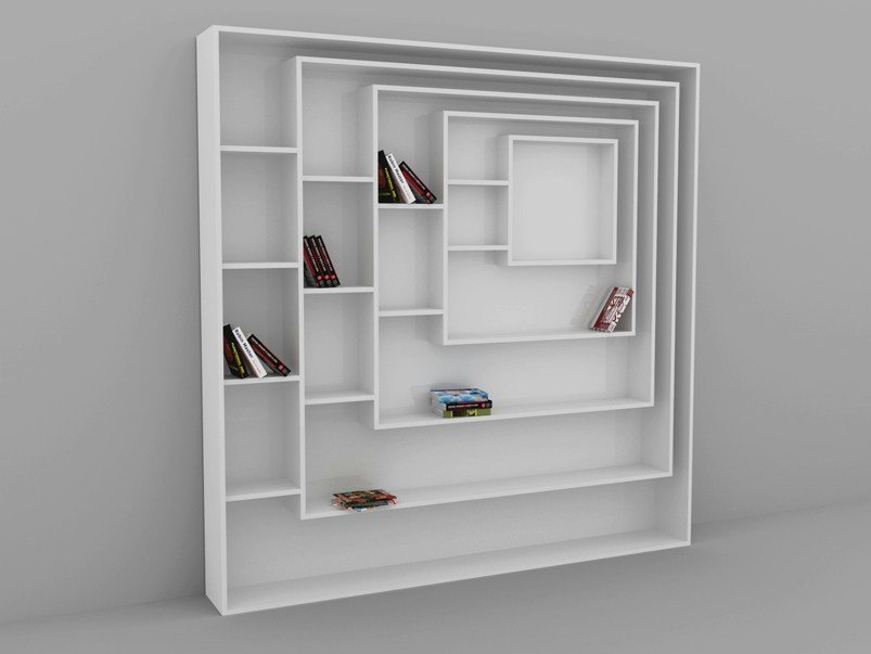 Modular floating bookcase CARRÉE by MALHERBE EDITION