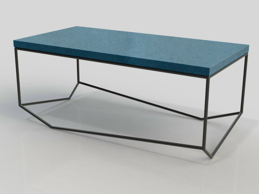 Rectangular cement coffee table BANCALE by MALHERBE EDITION