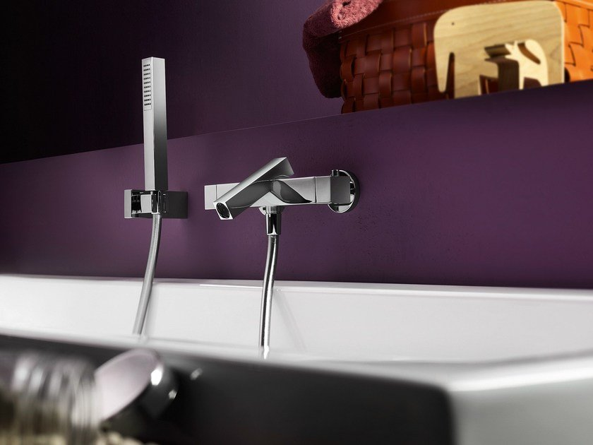 Wall-mounted single handle bathtub mixer TOWER | Bathtub mixer by Nobili Rubinetterie