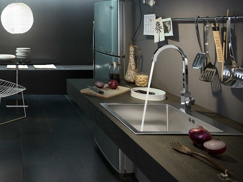 Chrome-plated kitchen mixer tap with swivel spout TOWER | Kitchen mixer tap by Nobili Rubinetterie