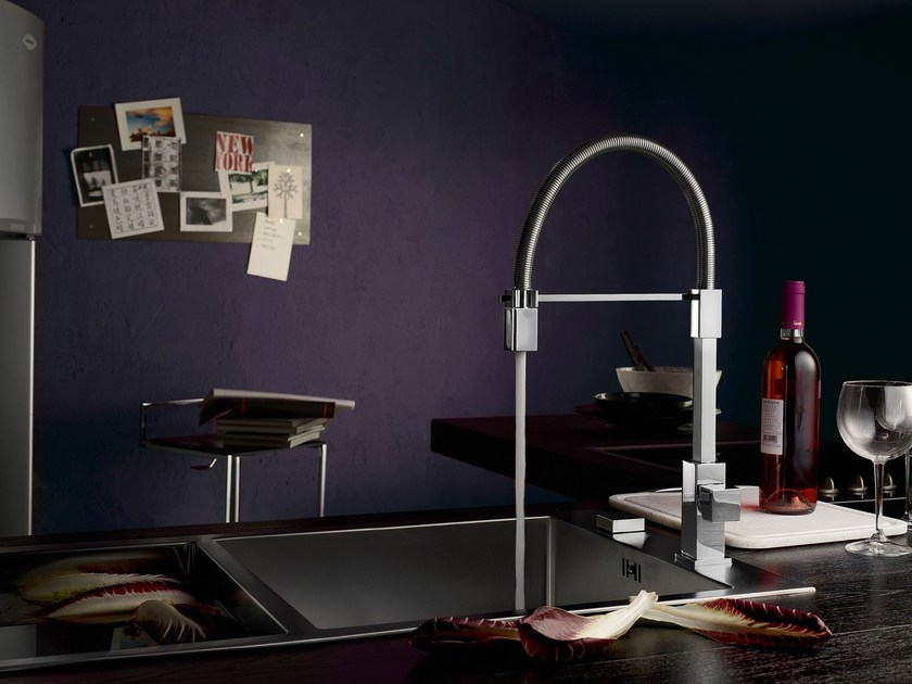 Chrome-plated countertop kitchen mixer tap TOWER | Chrome-plated kitchen mixer tap by Nobili Rubinetterie