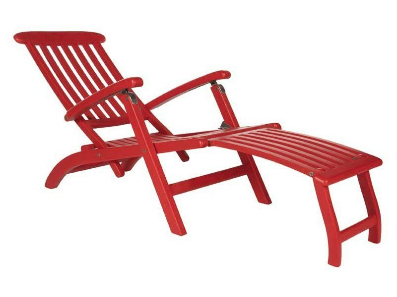 Folding recliner wooden deck chair with armrests BRITANNIA by Tectona