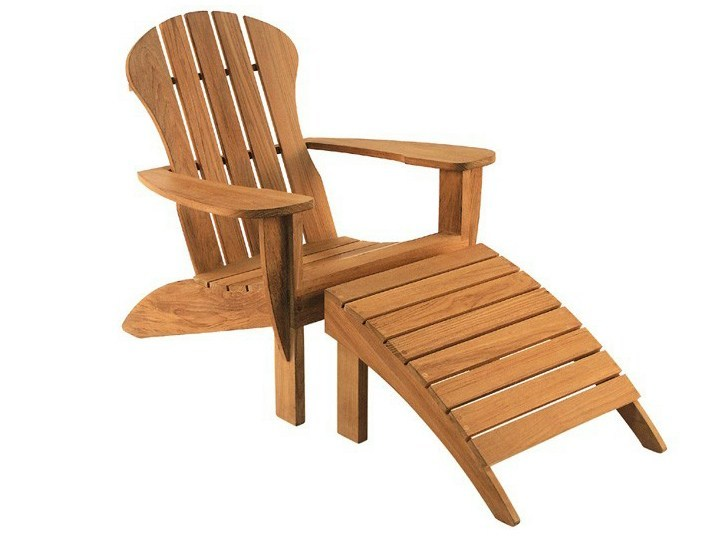 Teak deck chair with armrests with footrest ADIRONDACK | Deck chair by Tectona