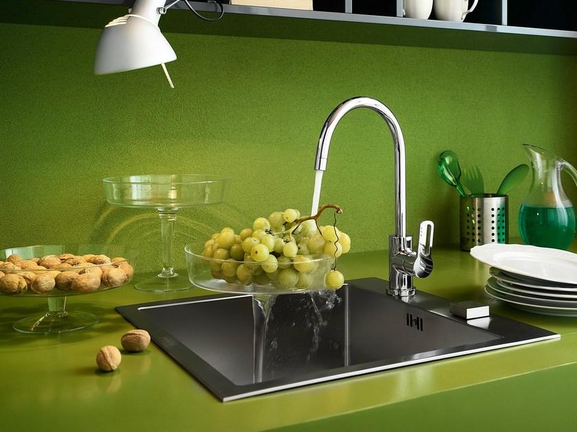 Chrome-plated countertop kitchen mixer tap with swivel spout NEW ROAD | Kitchen mixer tap with swivel spout by Nobili Rubinetterie