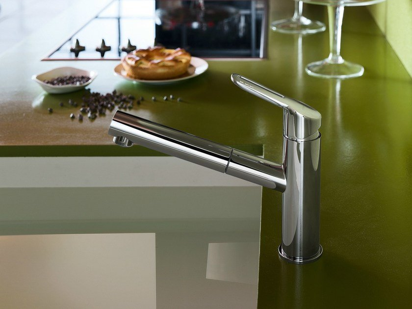 Chrome-plated 1 hole kitchen mixer tap with pull out spray NEW ROAD | Kitchen mixer tap with pull out spray by Nobili Rubinetterie