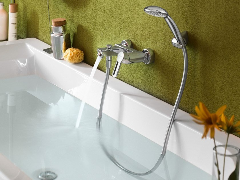 Wall-mounted chrome-plated bathtub mixer NEW ROAD   Bathtub mixer by Nobili Rubinetterie