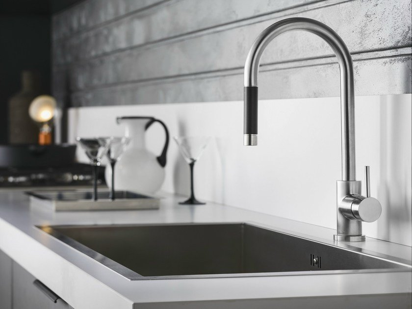 Chrome-plated kitchen mixer tap with pull out spray LIVE | Kitchen mixer tap with pull out spray by Nobili Rubinetterie