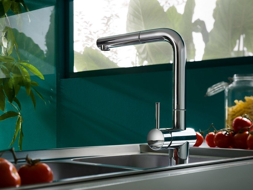 Chrome-plated 1 hole kitchen mixer tap with pull out spray LIVE | Kitchen mixer tap with pull out spray by Nobili Rubinetterie