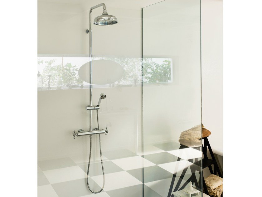 Wall-mounted thermostatic shower panel with overhead shower GRAZIA | Shower panel by Nobili Rubinetterie
