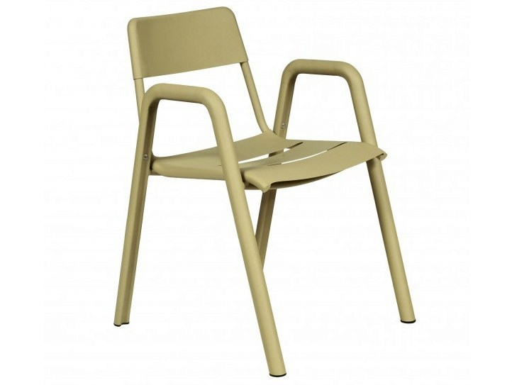 Stackable aluminium garden chair with armrests ALUMI | Stackable chair by Tectona