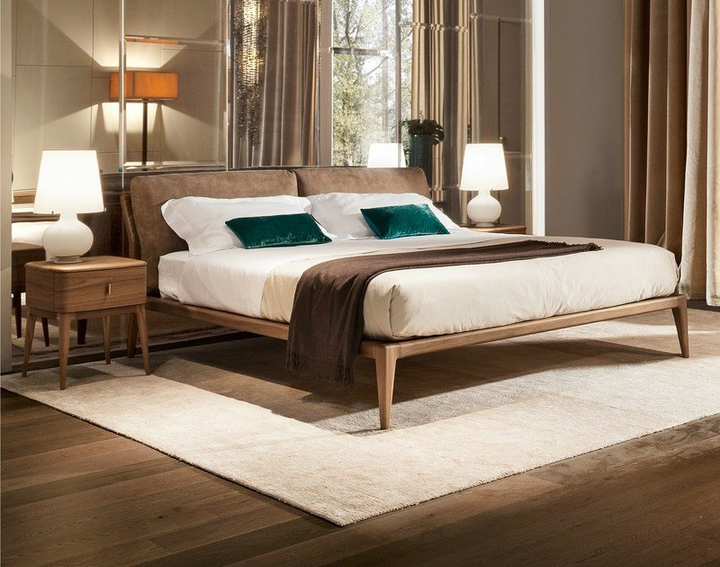 walnut double frame indigo double bed by selva design leo dainelli