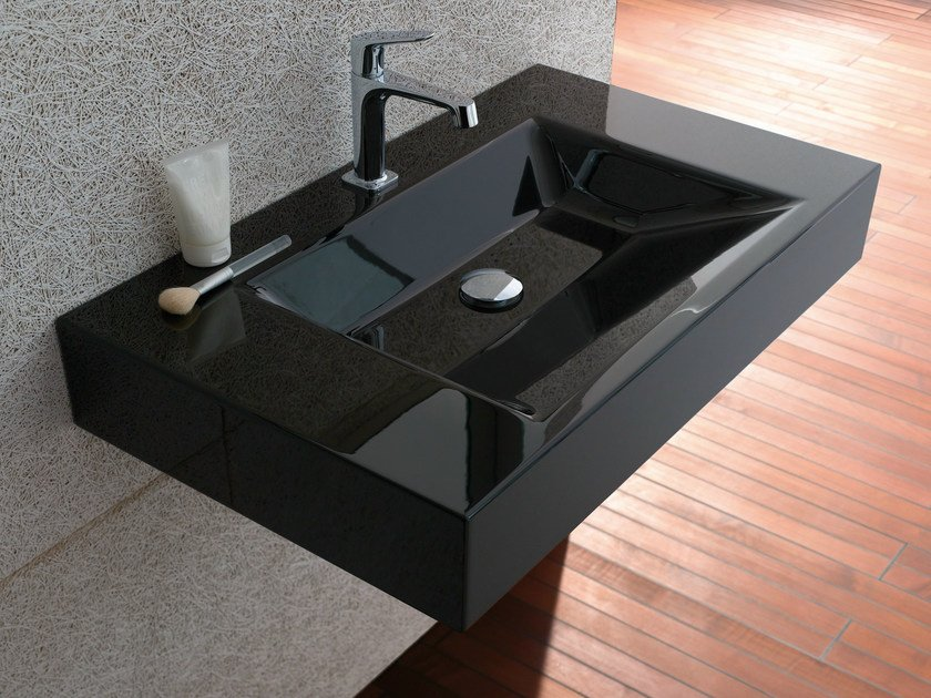 Rectangular wall-mounted enamelled steel washbasin BETTEAQUA | Wall-mounted washbasin by Bette