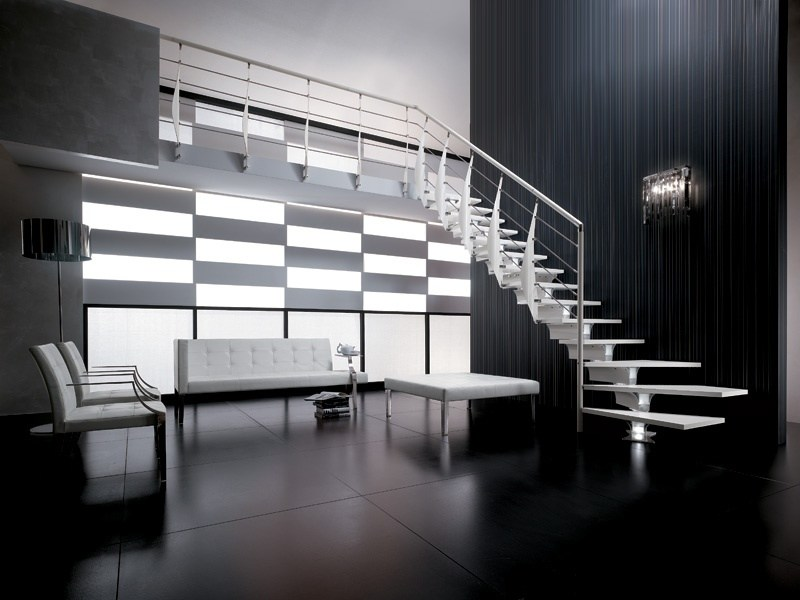Steel and wood Open staircase PRIMA by RINTAL