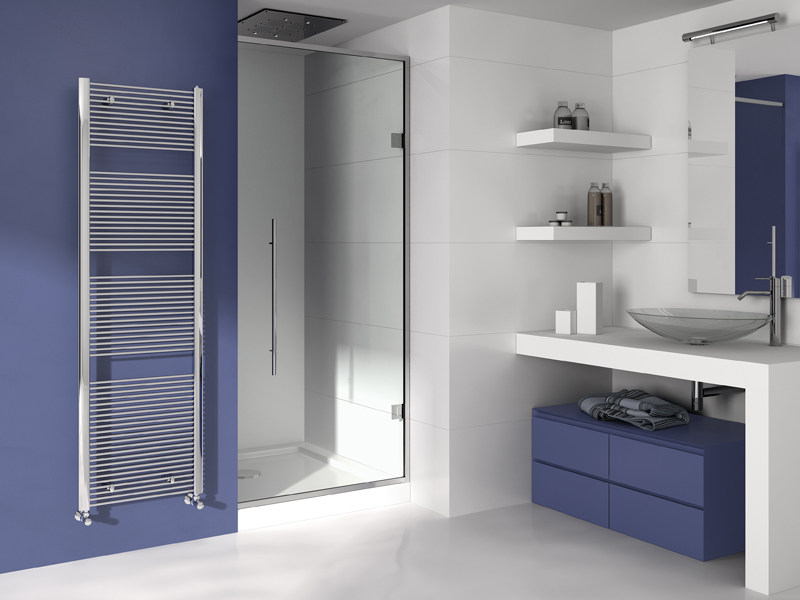 Vertical wall-mounted chrome plated steel towel warmer FILO   Chrome plated steel towel warmer by IRSAP