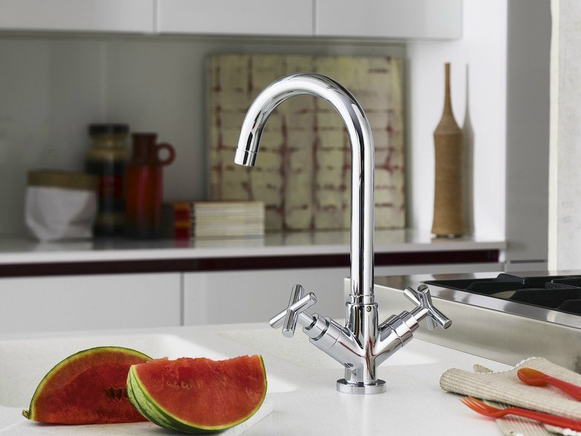 Chrome-plated 1 hole kitchen tap with swivel spout SPRING | Kitchen tap by Nobili Rubinetterie