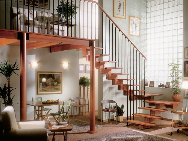 U-shaped Open staircase with central stringer ARAYA OLD by RINTAL