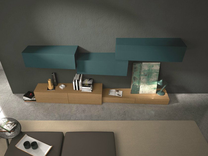 Sectional wall-mounted modular storage wall InclinART - 264 by Presotto